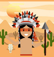 native american people cartoon vector image vector image