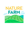 nature farm farmer banner with green meadow vector image vector image