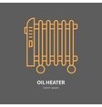 Oil heater line icon electric radiator vector image vector image