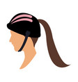 profile head woman with sport helmet vector image vector image