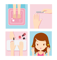 Relaxing Girl In Nail Salon Set vector image vector image