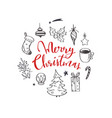 set christmas design doodle elements with merry vector image vector image