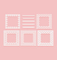 set of white lace frames of square shapes and vector image vector image