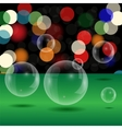 Soap Bubbles on Blurred Lights Background vector image vector image