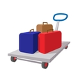 Suitcases on a cart cartoon icon vector image vector image