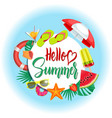 summer banner with hello summer lettering vector image