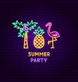summer party neon label vector image vector image