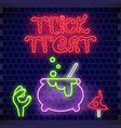 trick or treat neon banner vector image vector image