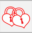 two bonded heart padlock vector image vector image