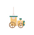 vintage yellow wagon train car - hanging christmas vector image