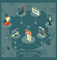 web design color isometric concept icons vector image