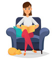 woman at home sitting on comfortable armchair and vector image