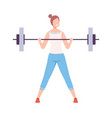 young woman lifting barbell girl doing sports in vector image
