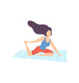 young woman practicing yoga physical workout vector image vector image
