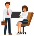 businesswoman showing tablet to manager cartoon vector image