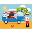 Ice cream truck and iceman vector image