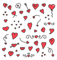 A big collection of hand drawn hearts and arrows vector image vector image