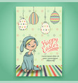 beautiful easter card with baby in bunny costume vector image vector image