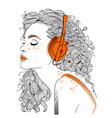 beautiful girl with headphones vector image vector image