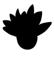 black silhouette of cartoon plant with big leaves vector image