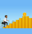 businessman walking up on golden coin stairs to vector image