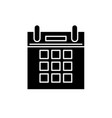 calendar time black icon sign on isolated vector image