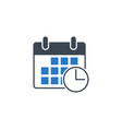 calendar with clock related glyph icon vector image vector image