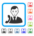 call manager framed unhappy icon vector image vector image