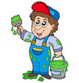 cartoon house painter vector image