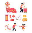 chinese new year dragon firecrackers paper vector image vector image