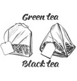 collection tea bags isolated on white vector image vector image