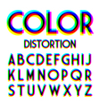 Color distortion alphabet vector image vector image