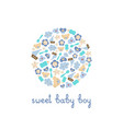 cute baby boy elements in a circle vector image