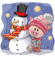 cute pig in a knitted cap and snowman vector image vector image