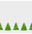 decorative seamless border of pixel christmas tree vector image