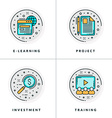 E-learning project investment training A set of vector image