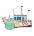fishing boat icon industrial yacht or vessel vector image vector image