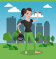 fitness woman with weigths on park vector image vector image