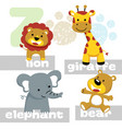 funny animals cartoon with its names vector image vector image