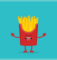 funny french fries fast food vector image vector image