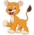 Funny lion cartoon waving vector image