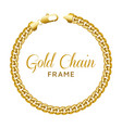 gold chain round border frame wreath circle shape vector image vector image