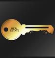 golden key symbol real estate vector image vector image