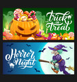 halloween holiday pumpkin ghost and witch banners vector image vector image