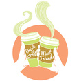 Hands holding dispossable coffee cups Cardboard vector image