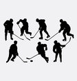 Hockey ice sport action silhouettes vector image vector image