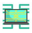 lap top computer connected to system network part vector image vector image