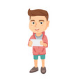 little caucasian boy using a tablet computer vector image vector image