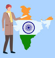 man in turban standing near map india vector image vector image
