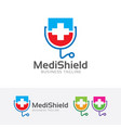 medical shield logo vector image vector image